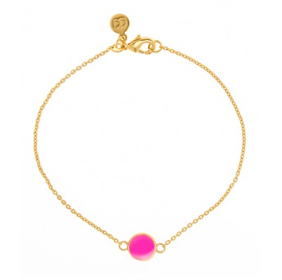 Georjana Neon Pink Electric Disc Bracelet