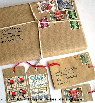 vintage stamp gift wrapping 1