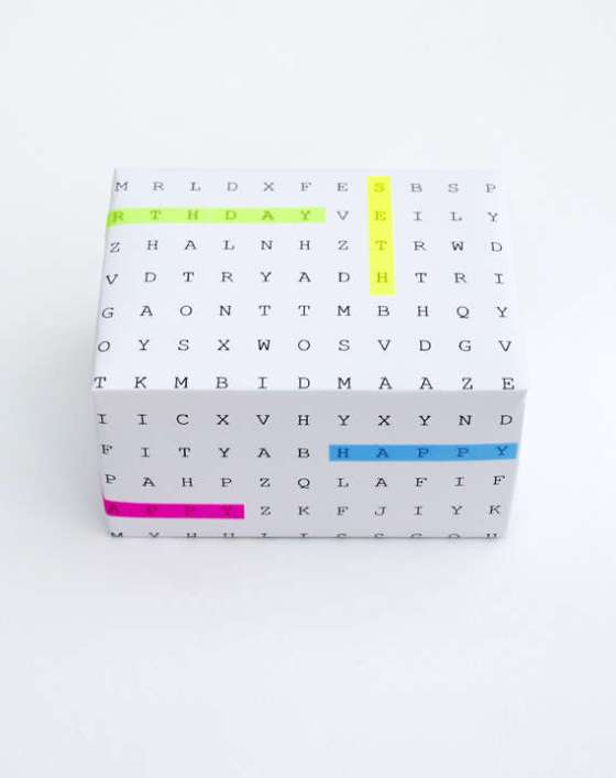 diy crossword gift wrap