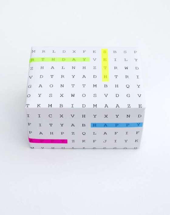 diy crossword gift wrap