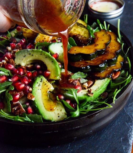 Autumn Arugula Salad with Caramelized-Squash-Spiced-Pecans-and Pomegranate Ginger Vinaigrette