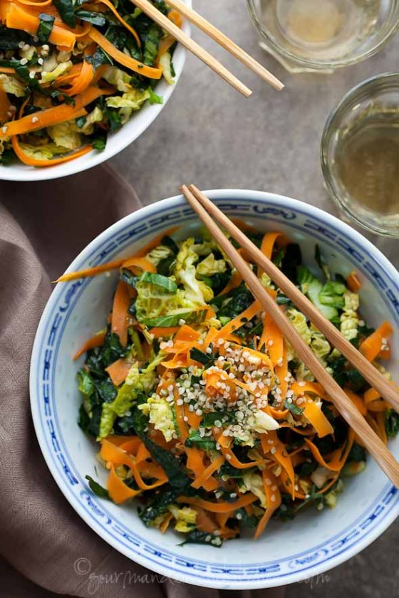Kale Cabbage and Carrot Chopped Salad from Gourmande in the Kitchen