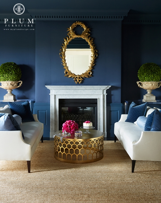 Topiaries, a beautiful mirror, navy walls, my favorite colors, peonies, cake with ribbon, scalloped coffee table