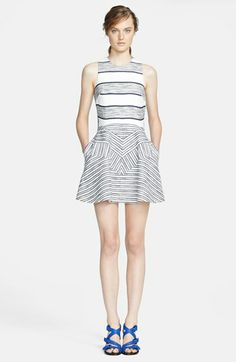 3.1 Phillip Lim Chevron Detail Full Skirt Dress
