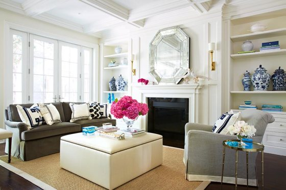 preppy living room peonies ginger jars