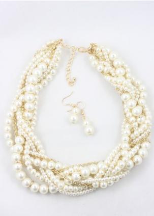 Cannon Multi Row Pearl Necklace