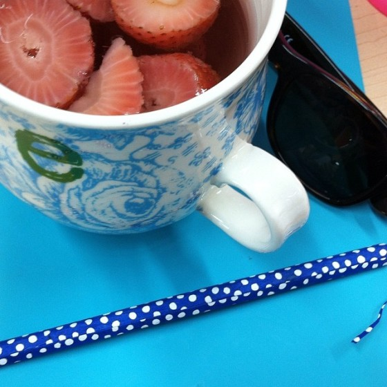 hot water with strawberries and lemon