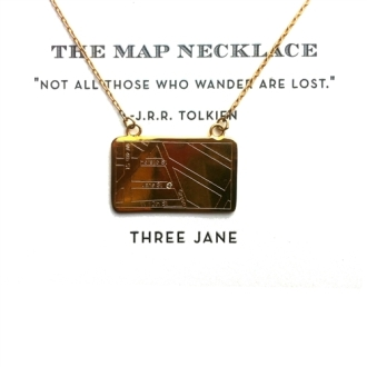 Three jane NY Map Necklace