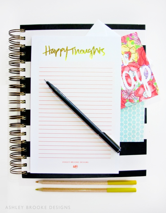 Happy Thoughts Notepad via Ashley Brooke Designs